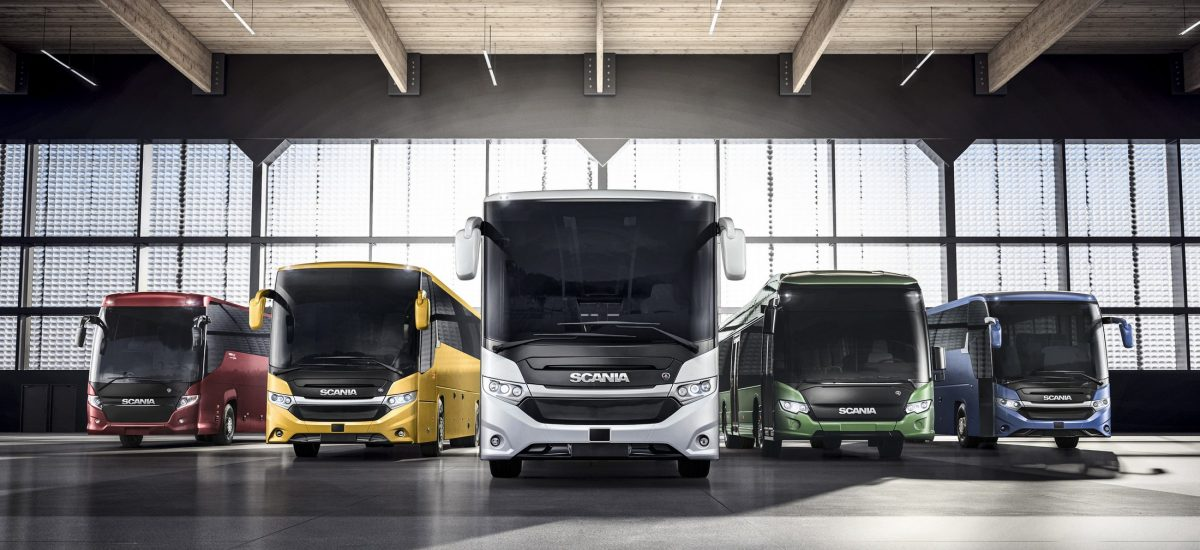 Product family image, buses and coaches. Scania Touring, Scania Interlink HD, Scania Interlink MD, Scania Interlink LD and Scania Citywide LE Hybrid. Photo: Scania 2017