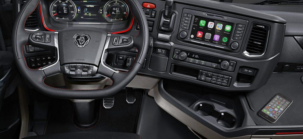 Cab interior, steering wheel and dashboard, CS20 Highline Södertälje, Sweden Photo: Göran Wink 2016